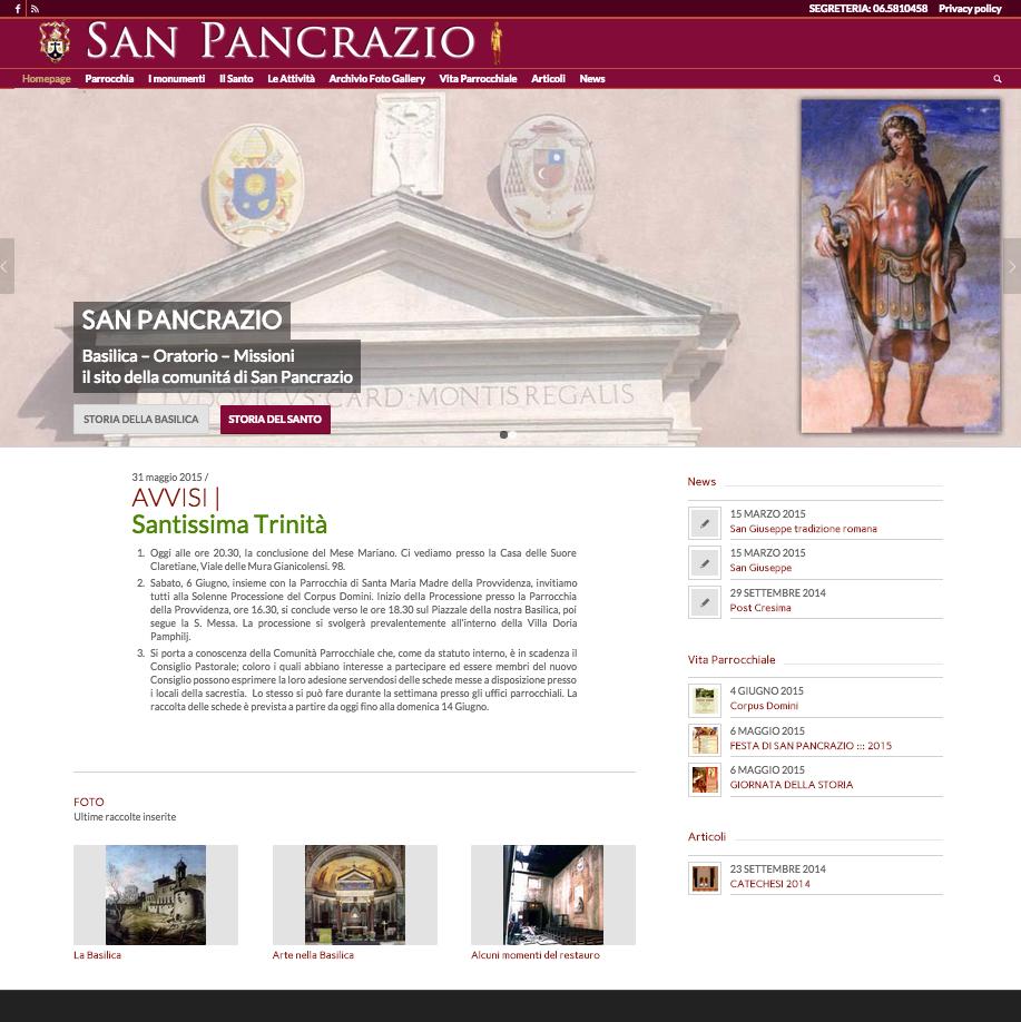 Il nuovo sito web di san pancrazio san pancrazio roma for Sito web di progettazione della casa