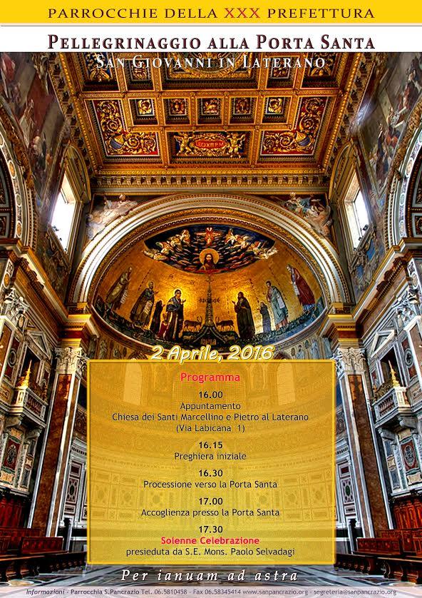 Programma pellegrinaggio alla Porta Santa di San Giovanni - PARROCCHIE DELLA XXX PREFETTURA